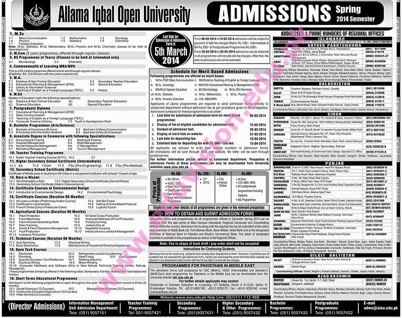 Allama Iqbal Open University Islamabad Admission 2014