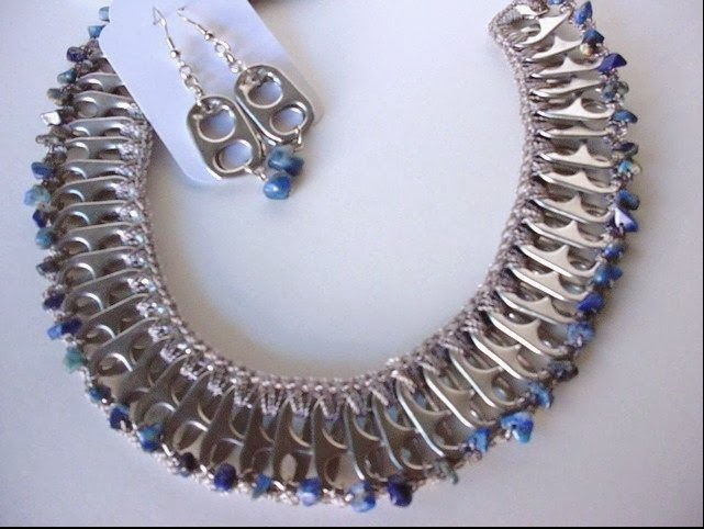 Soda pop tab sodalite necklace created by Claudia Zimmer