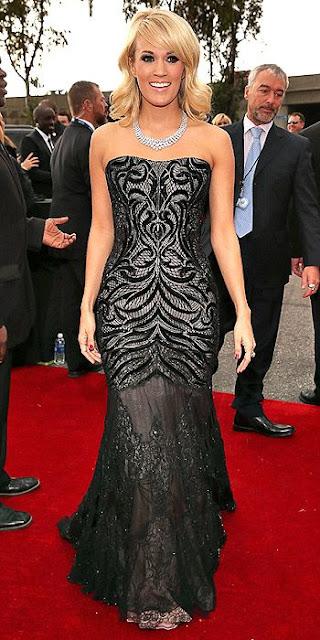 2013 Grammys dresses, Carrie Underwood Grammys dress, Roberto Cavalli, Johnathon Arndt