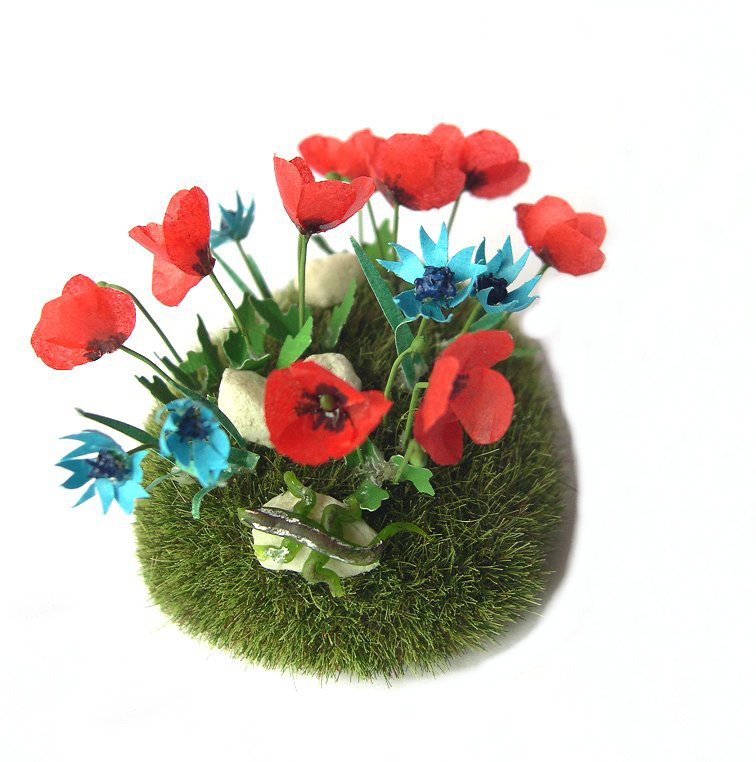 Meadow with poppies in miniature