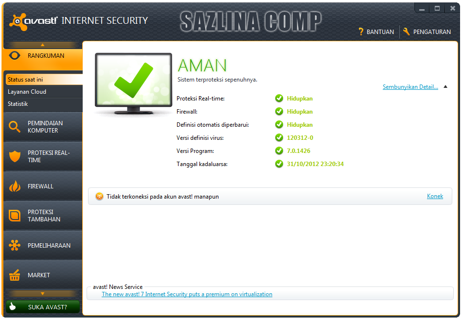 avast! Internet Security 7.0.1426 Full License Key
