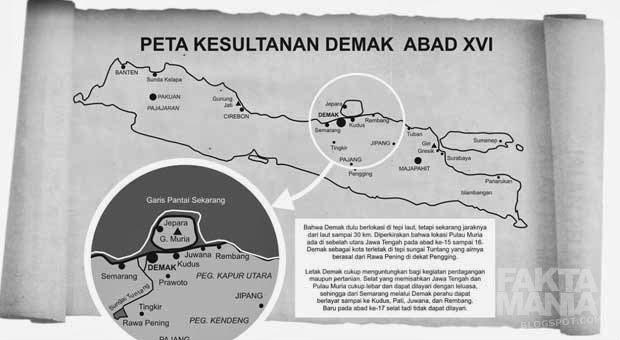 Lokasi Keraton Demak dan Pulau Muria