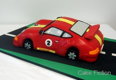 Cake Fiction Porsche 911 Racing Car Birthday Cake