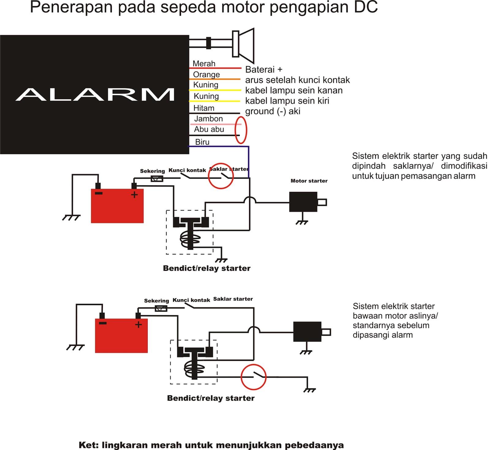 cara memasang alarm sepeda motor
