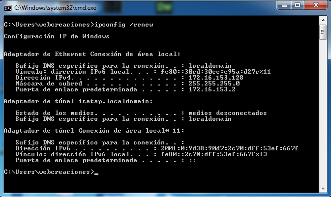 Ipconfig renew windows 7