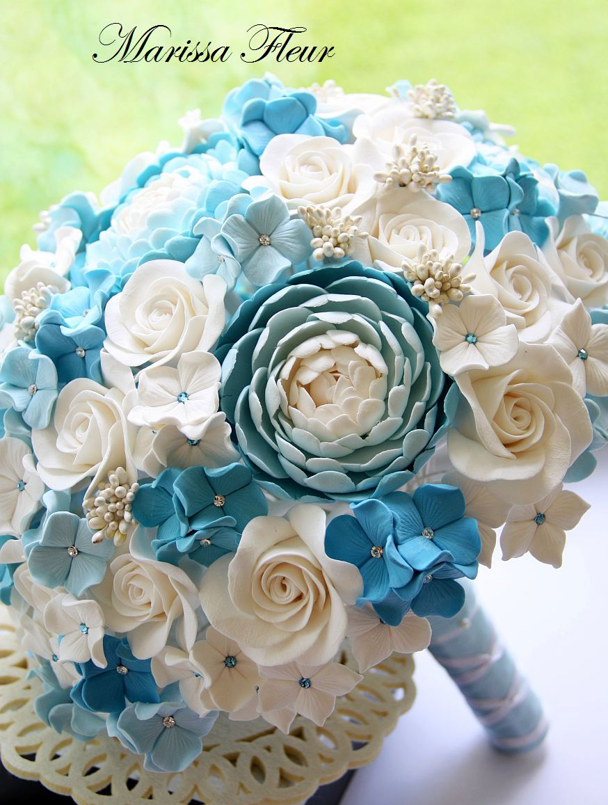 A Touch Of Beauty White And Light Blue Bridal Bouquet With