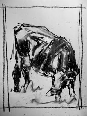 Cow sketch composition - sketchbook