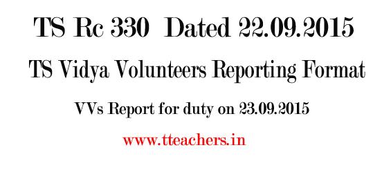 TS Vidya Volunteers Reporting Format-VVs Agreement Letter
