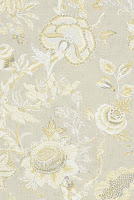 flower wallpaper natural tan linen yellow T4150