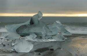 Ice on the beach, near Jökulsárlón Lagoon