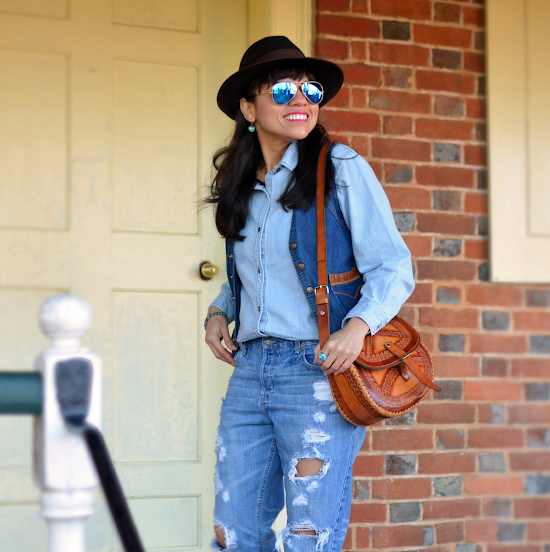 Outfit with denim vest