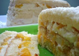 bolo gelado de pessego em calda