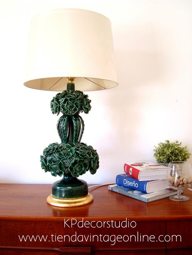 Lámpara antigua años 50 de cerámica, manises (valencia)