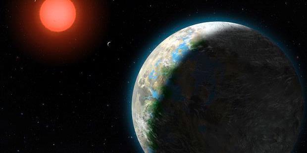 Ilustrasi tata surya di sekitar bintang Gliese 581.