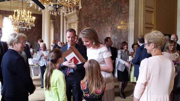 "Queen Mathilde of Belgium attends the awards ceremony of the ""Francqui Prize 2015"" on June 9, 2015 in Brussels"