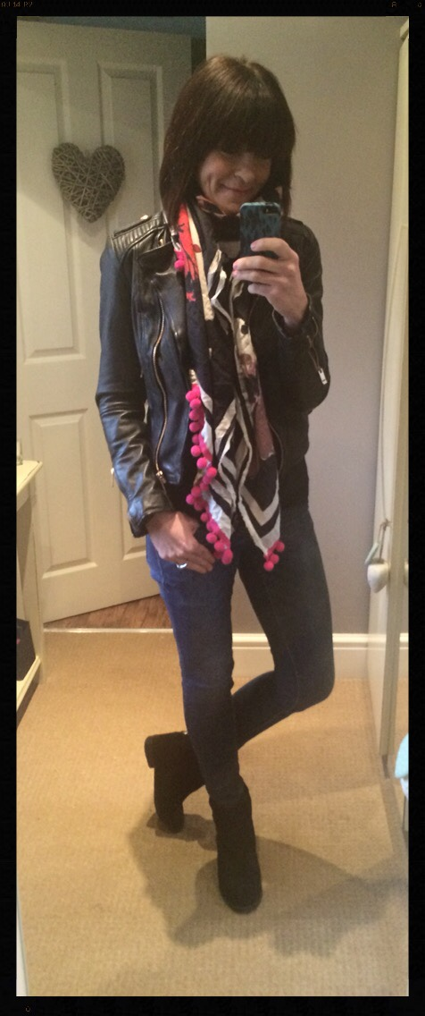 My Midlife Fashion, Pom pom, pom poms, skinny jeans, biker jacket, zara, mango