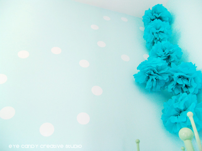 aqua tissue paper poms, white dot vinyl pattern, wallternatives, aqua walls