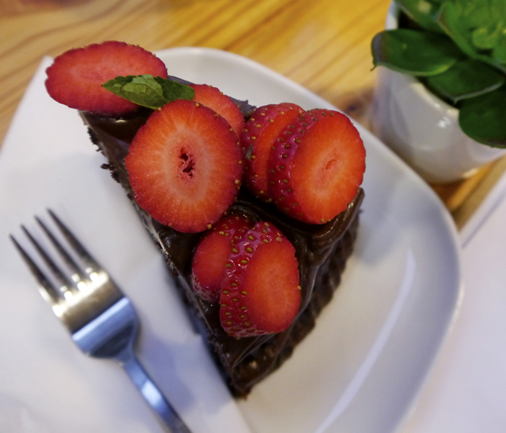 Chocolate cake, Dundee cafe, strawberries, The Flame Tree Cafe