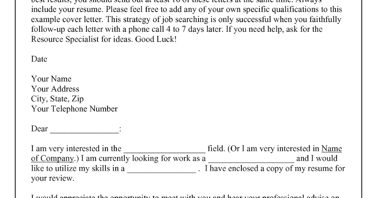cold call cover letter example