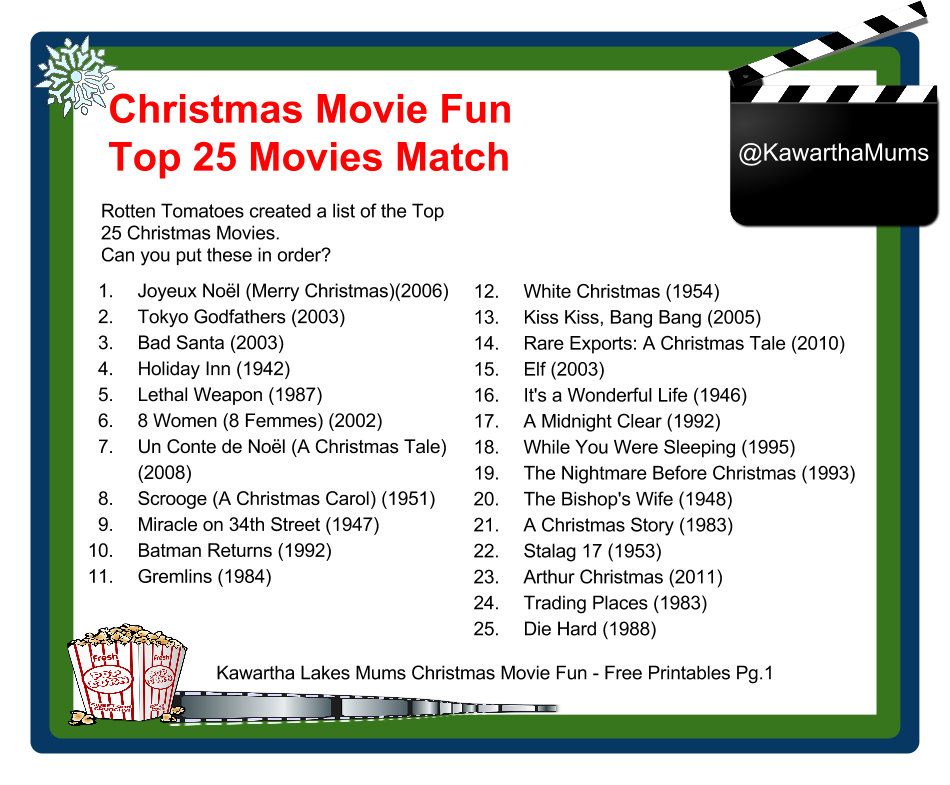 image Kawartha Lakes Mums Christmas Movies Fun: Free Printables Package page one