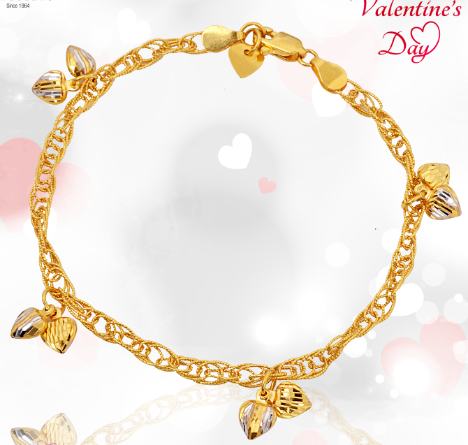 valentines day collection heart gold bracelets