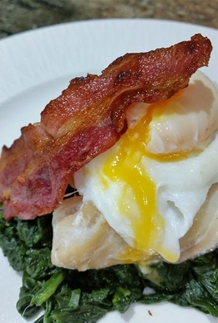 smoked cod, eggs, spinach, bacon