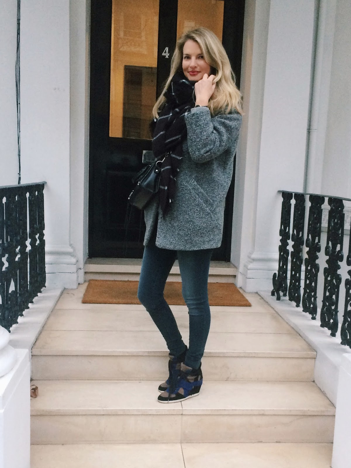 iro coat, iro cocoon coat, zara scarf, zara sale haul, zara maxi scarf, zara windowpanel print scarf, j brand jeans, j brand photo ready jeans, ash wedge trainers