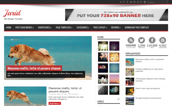 Jarid Blogger Premium Templates Free Download | SoraTemplates Free ...