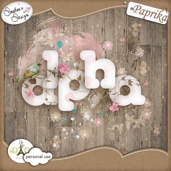 Free scrapbook Alpha by Paprika & Doudouscrap