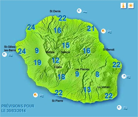 Prévisions météo Réunion pour le Dimanche 30/03/14