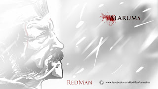 "©2013 Red Man ""Alarums 1"" Title Card (www.fb.com/redmananimation). Artwork by Dulani Wilson (www.bluntspear.co.uk). All rights reserved."
