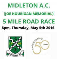 Midleton 5m in Easy Cork...Thurs 5th May 2016...Incl dry fit top