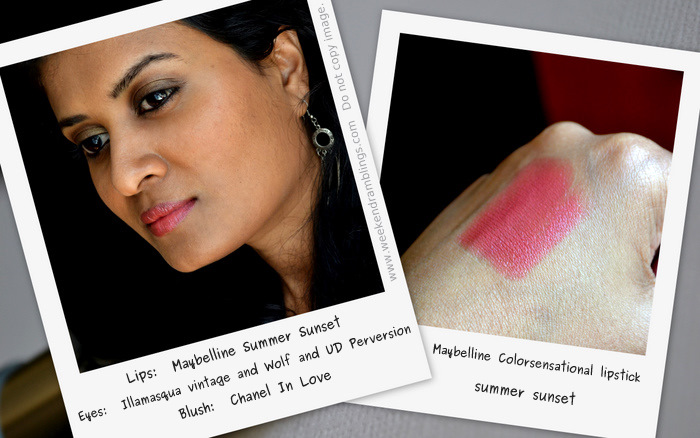 Maybelline Color Sensational Lipstick in Summer Sunset Makeup Beauty Blog Reviews Swatches FOTD Indian Darker Skin Looks
