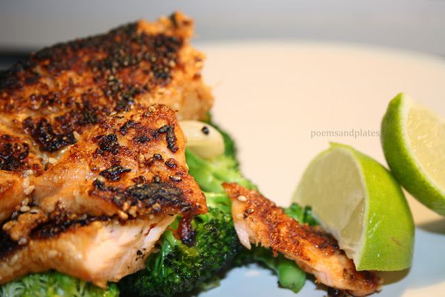 Sesame Salmon with Lime Broccoli & Spring Onions
