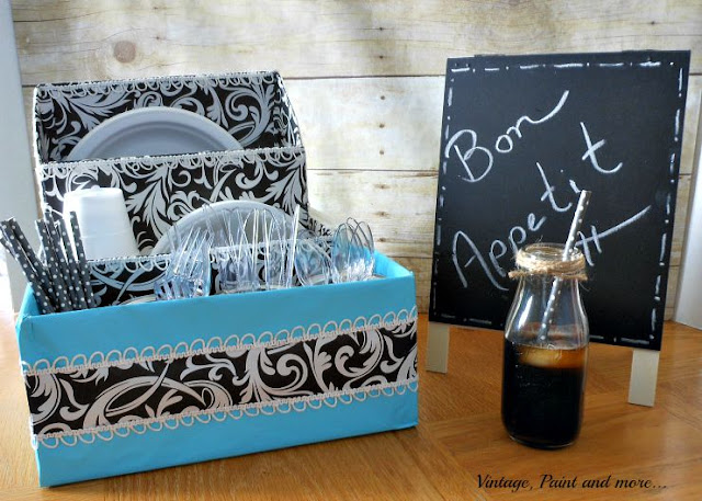 Vintage, Paint and more... DIY dish organizer made from old boxes and tin cans for a dorm room