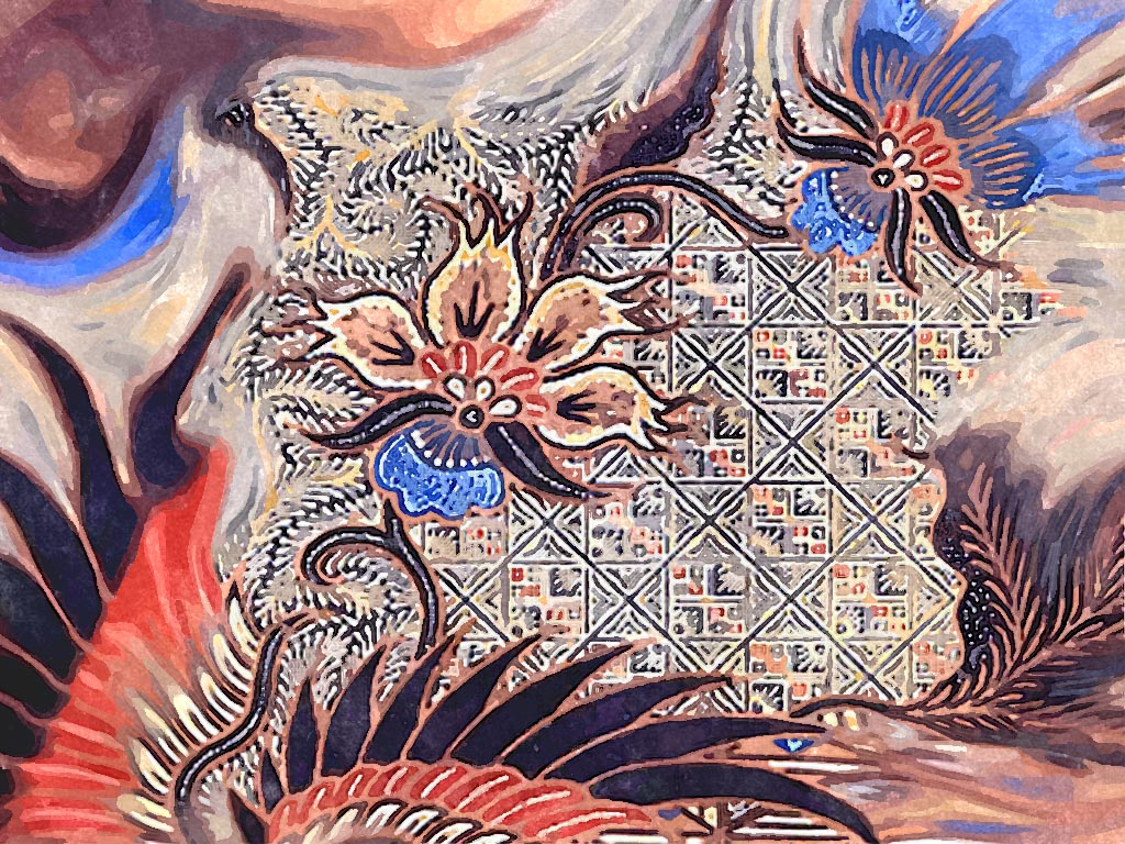 indonesian batik in watercolor painting . Artistic wallpaper free to