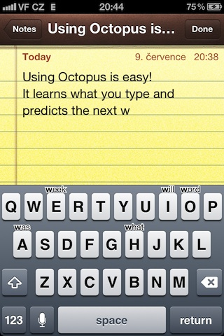 أداة Octopus Keyboard لإتاحة كيبورد نظام BlackBerry 10 للآيفون