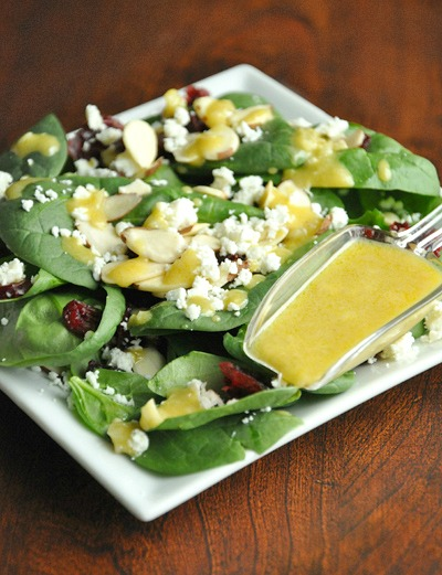 Spinach Cranberry Feta Salad with Honey Dijon Vinaigrette