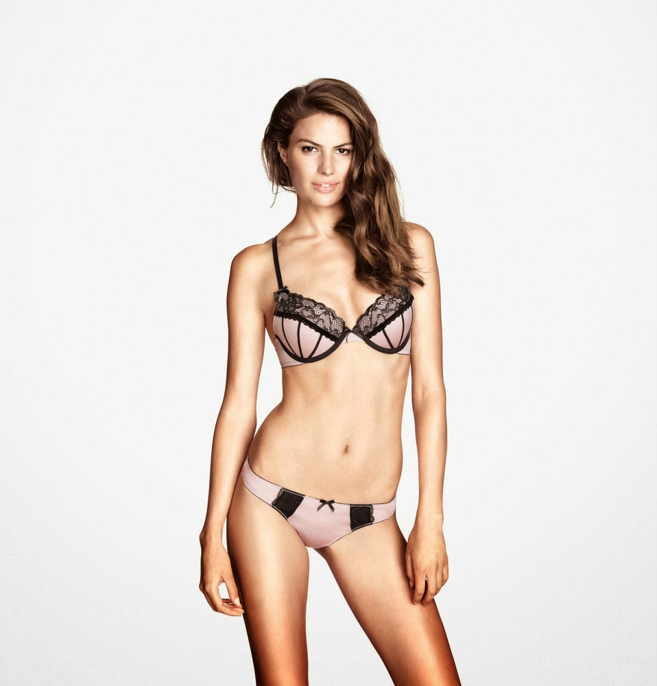 H&M Lingerie October 2013 Lookbook featuring Cameron Russell