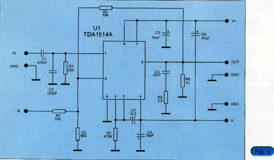 Amplificator audio 75W cu TDA1514.