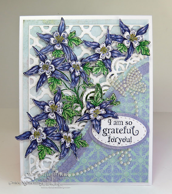 ODBD stamps: Grateful, Dies: Leafy Edged Border dies, Oval dies, Stitched oval dies, BoHo Background dies, designed by Grace Nywening