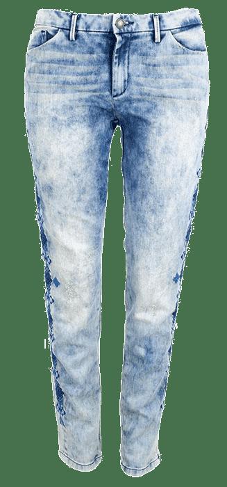 سروال جينز بخياطة للتزيين[جينز]