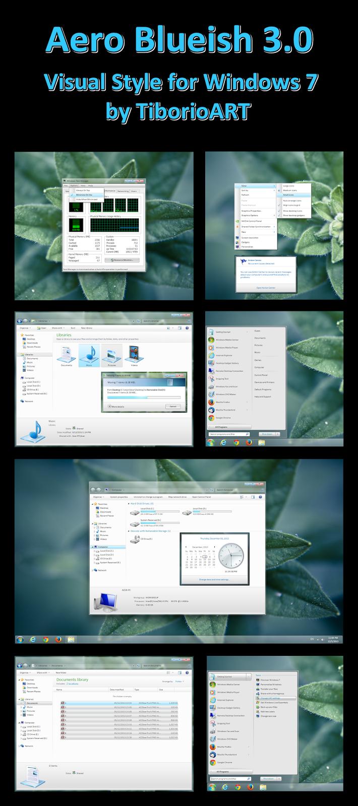 Aero blueish theme for windows 7 windows10 themes i for Window 07 themes