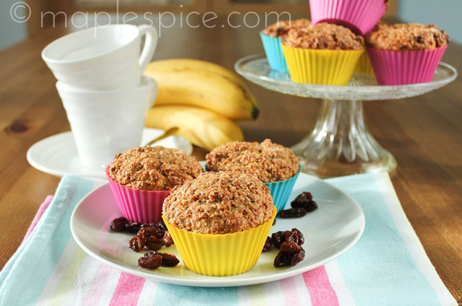 Vegan Banana Raisin Bran Muffins.