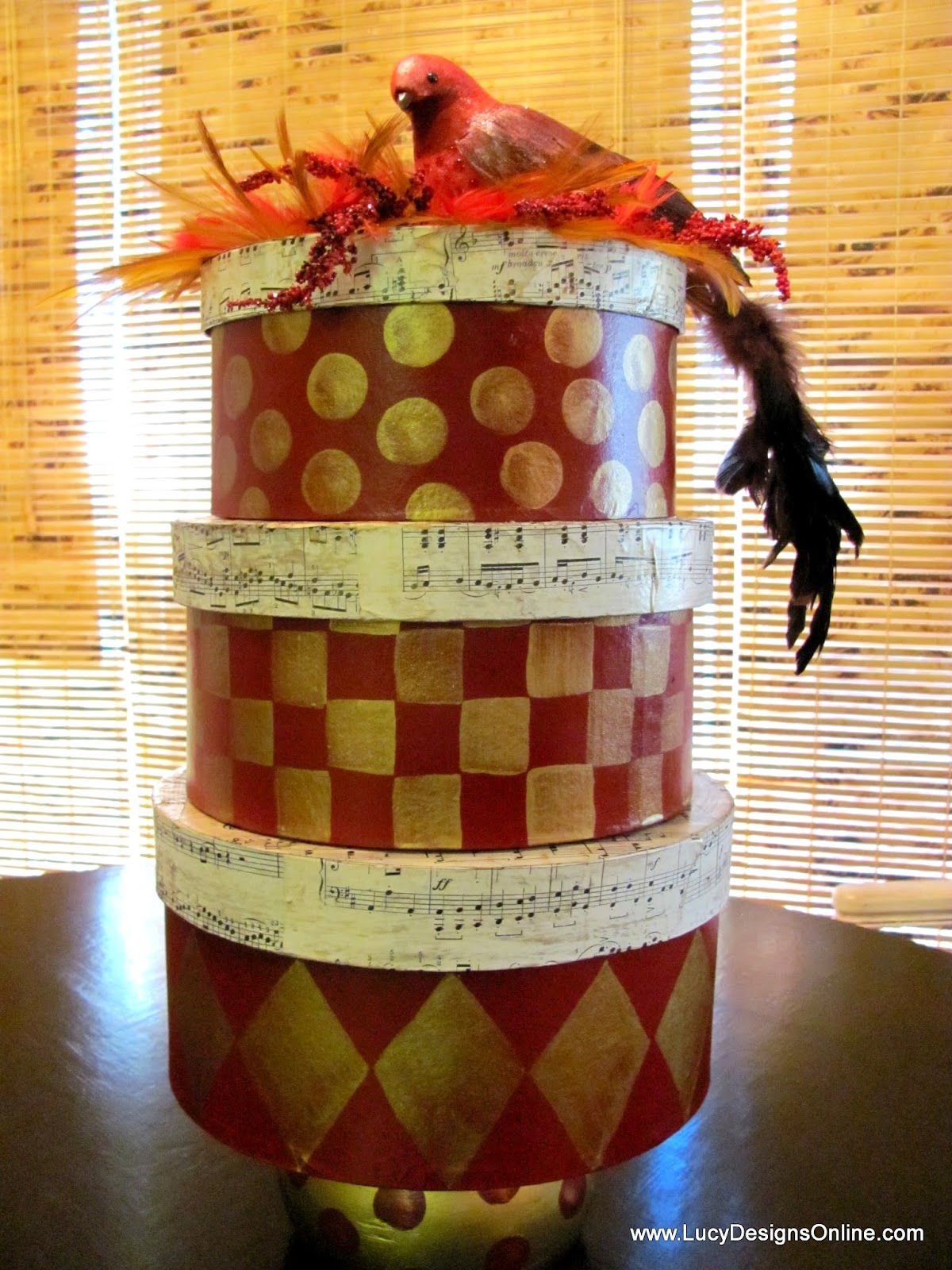 hand painted gift box and sheet music topiaries