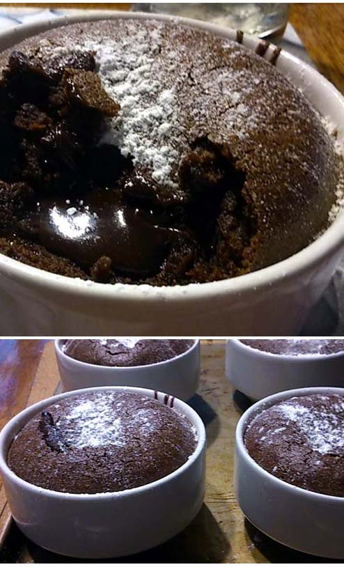 Easy chocolate lava cake served in a mug, or in this case, a ramekin.