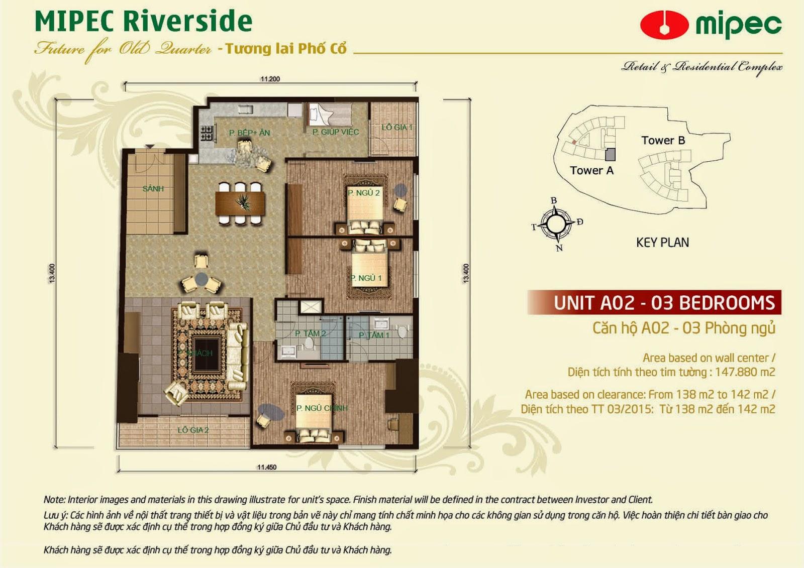 Căn A03 - 147m Mipec Riverside