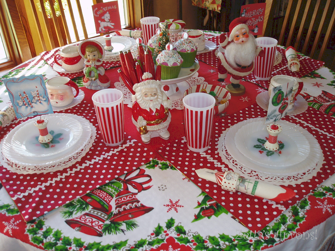 Another table setting decorated with christmas trees. This time though it is a bit more whimsical with gingerbread styled trees & annies home: Eight Festive Holiday Table Settings