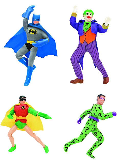 Figures Toy Comany World's Greatest Heroes - Batman, Robin, Joker & Riddler Mego Repro Figures
