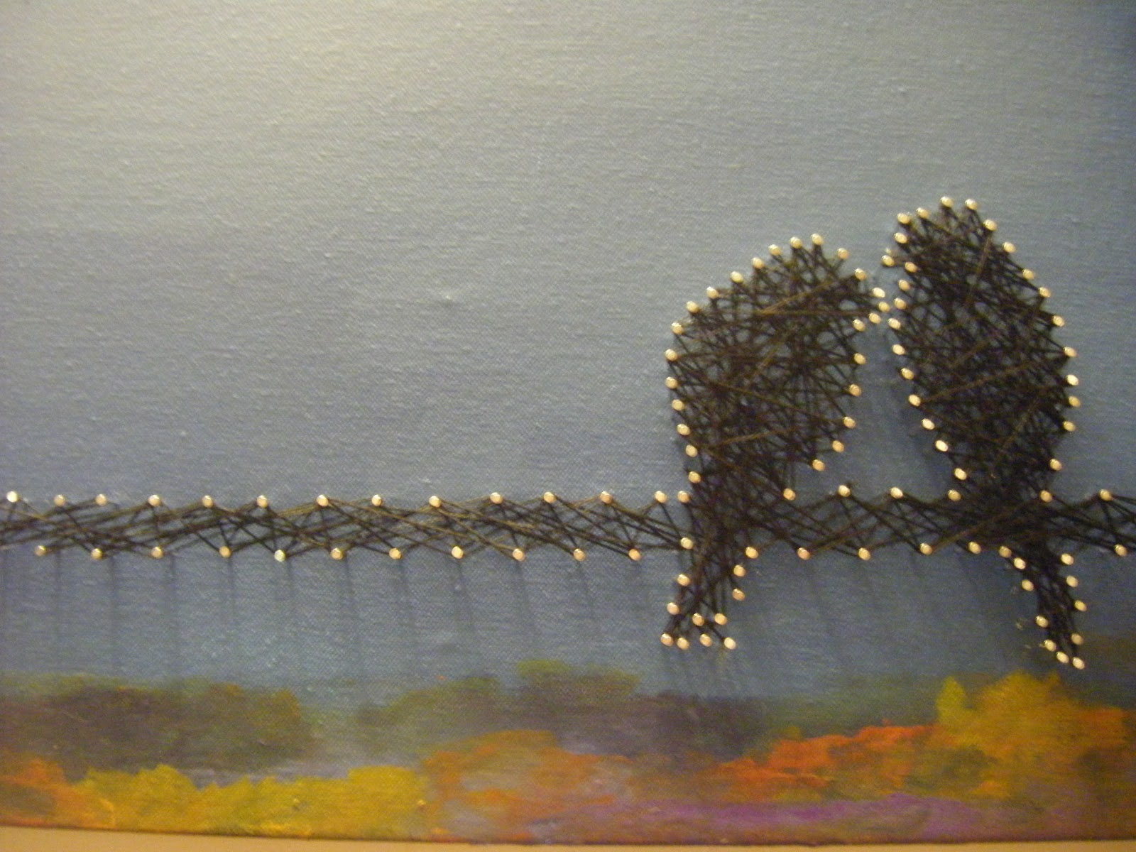 Lucky\'s Crafts: Birds on a Wire on Canvas with String Art